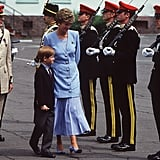 Harry inspected troops with his mother, Princess Diana, in 1993.