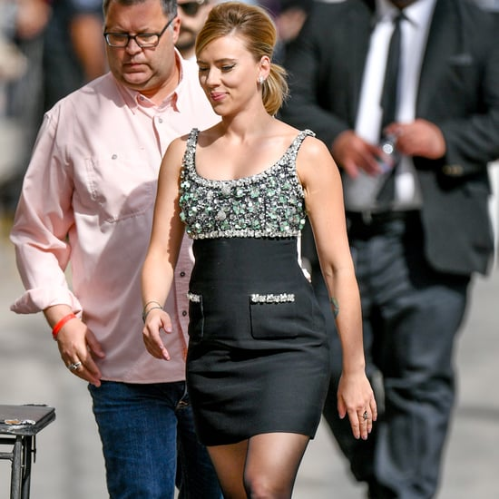 Scarlett Johansson Miu Miu Dress and Boots on Jimmy Kimmel