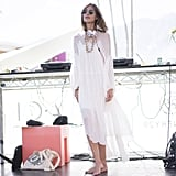 Alexa Chung looked effortless playing DJ in a lightweight dress.