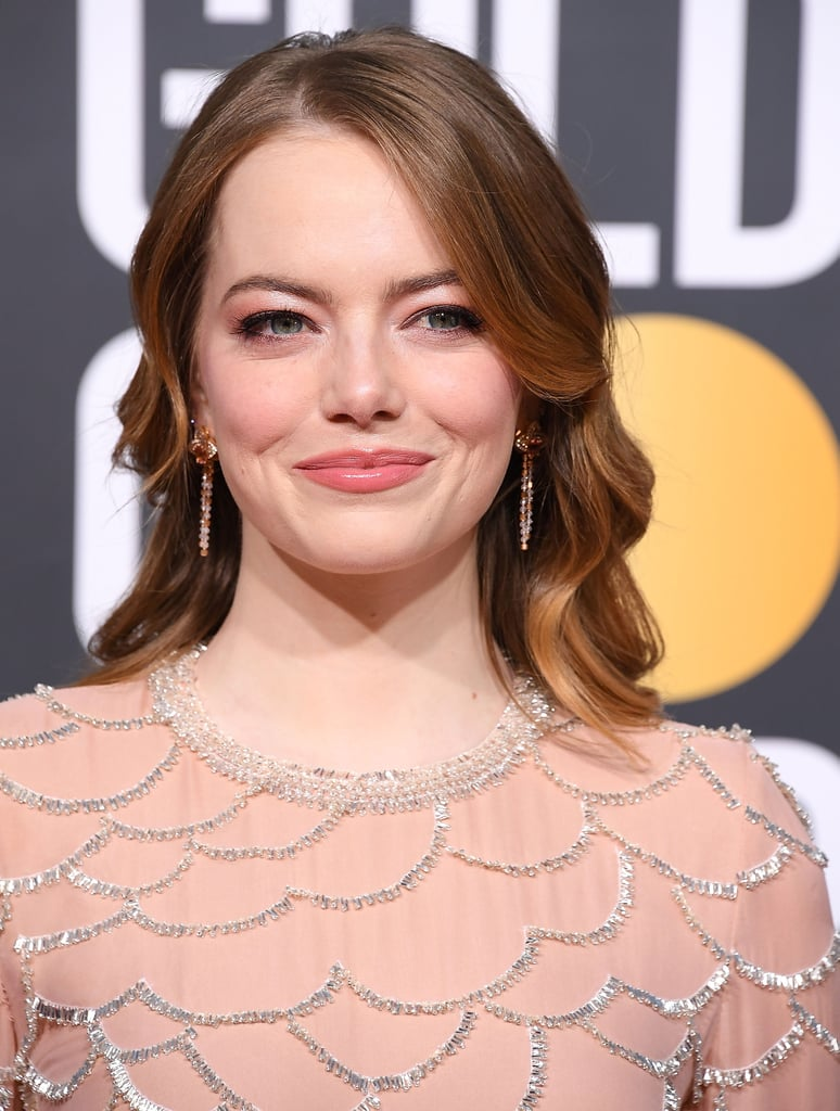 Emma Stone at the Golden Globe Awards 2019 in Rose Gold Shadow