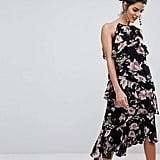 Y.A.S Floral High Neck Midi Dress With Ruffles