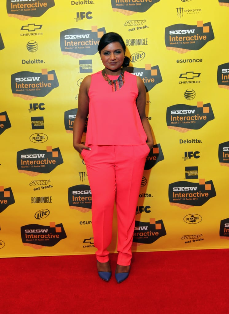 At SXSW, the actress took on the red carpet in a bold-hued Trina Turk top and trouser set, which she accessorized with statement jewels and equally bright heels.