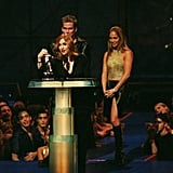 "In 1999, Jennifer and Mark McGrath presented Madonna with the award for best video from a film for ""Beautiful Stranger."""