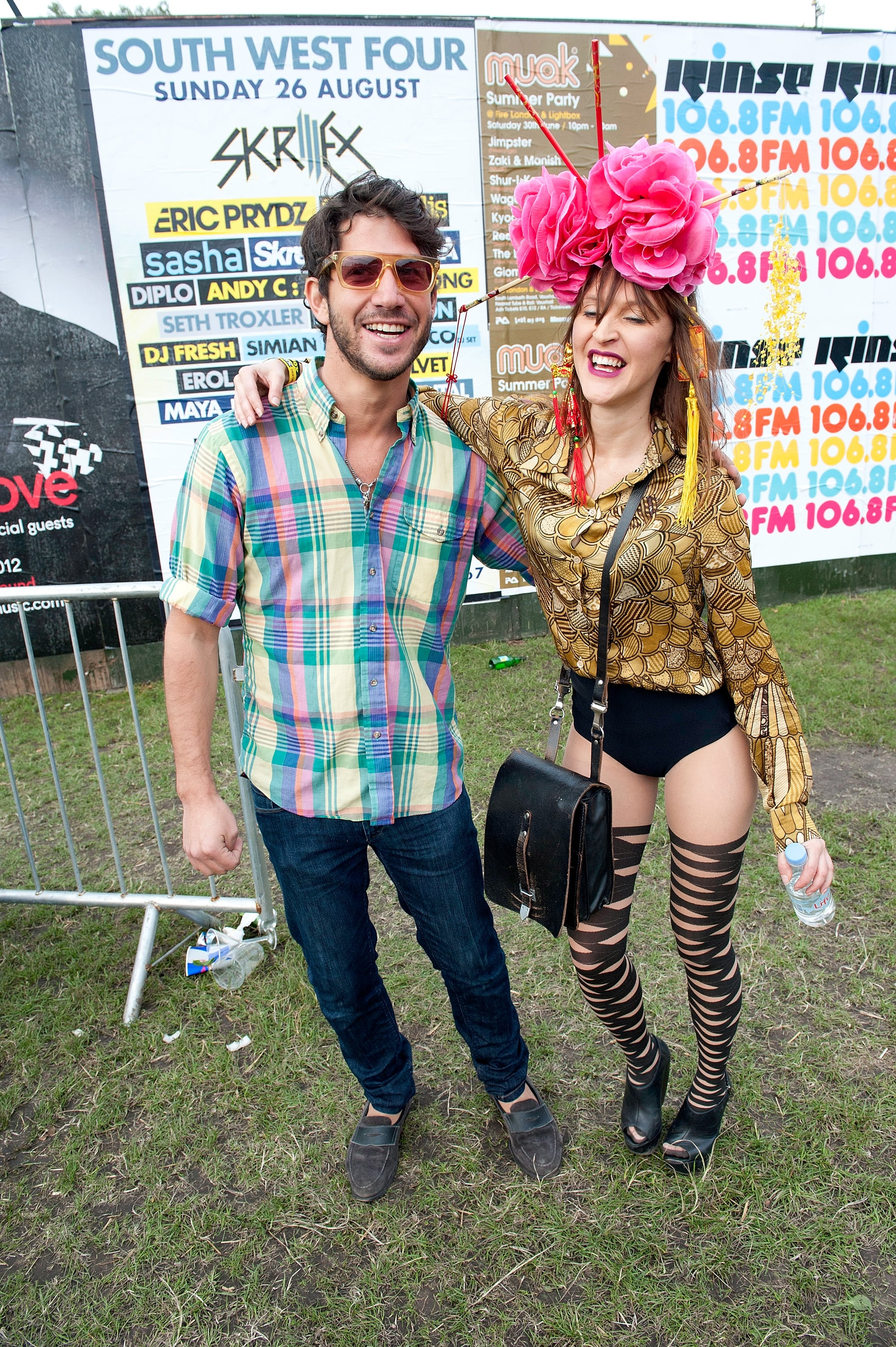 A wacky twosome posed at the Lovebox Festival at Victoria Park in London.