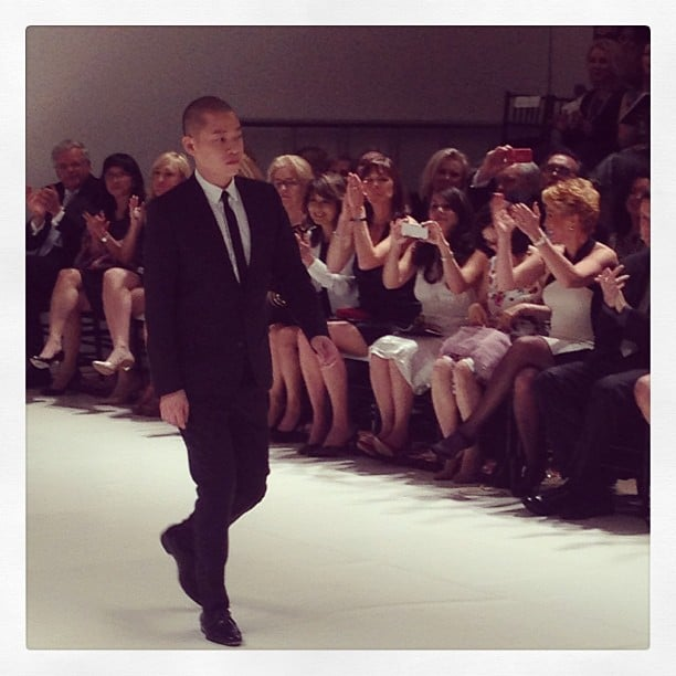 Jason Wu takes his lap down the catwalk and shows appreciation to the audience. Source: Instagram user popsugarfashion
