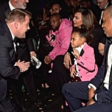 Blue had the cutest reaction to James Corden working up the guts to attempt to mingle with her at the 2017 Grammys.