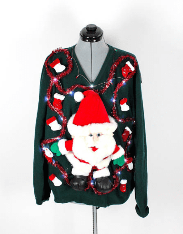 898564d266 Vintage Retro Light-Up Santa Christmas Lights Sweater