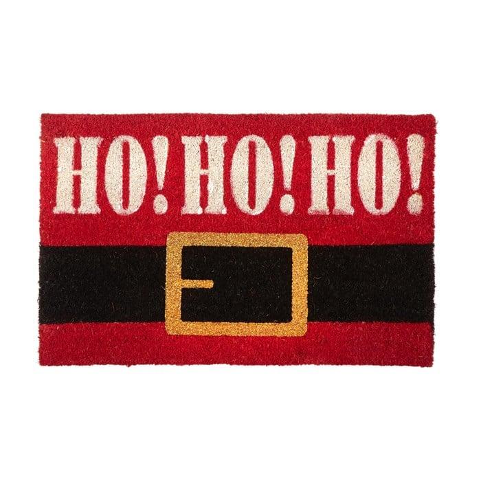 """Ho Ho Ho"" Santa Belt Coir Door Mat"