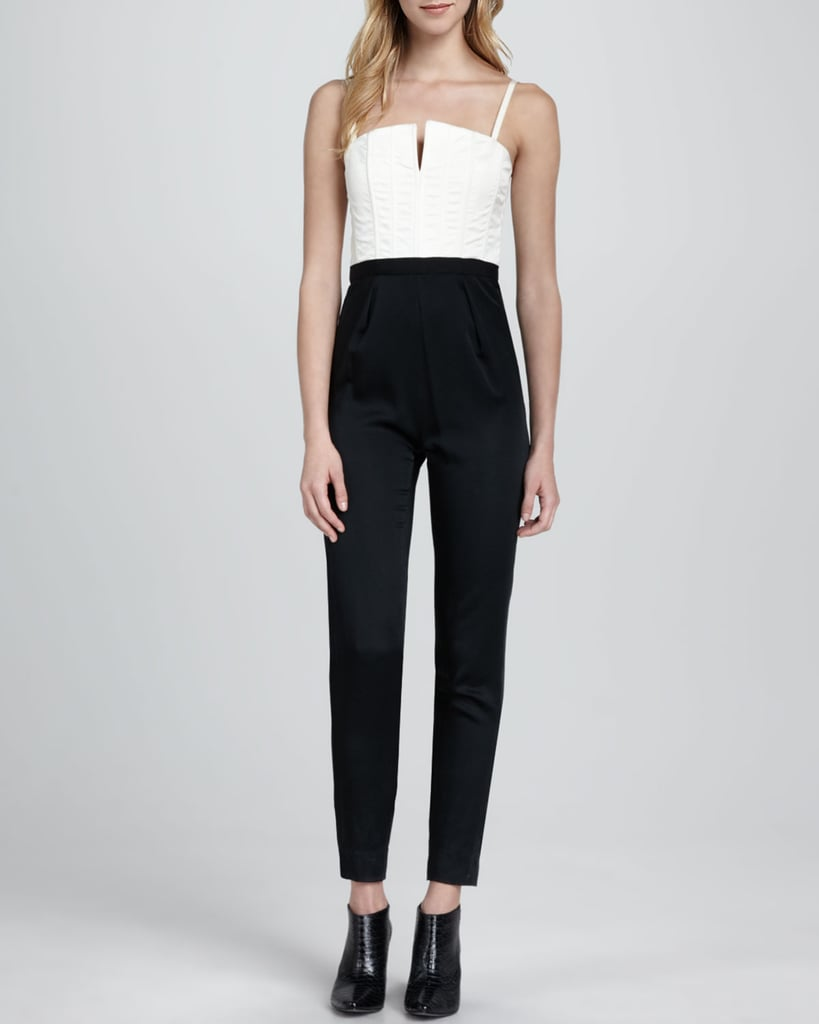 I love a jumpsuit as a chic alternative to the party dress — and it doesn't get much more chic than this Alice + Olivia Arrow Two-Tone version ($495). All you need to take it to the office party is a blazer and pumps; for NYE, swap in a sequined cardigan and a pair of platforms. It's like a blank canvas for any seasonal cocktail party. — Hannah Weil, associate editor