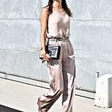 Alessandra Ambrosio Wore Giorgio Armani to the Brand's Show