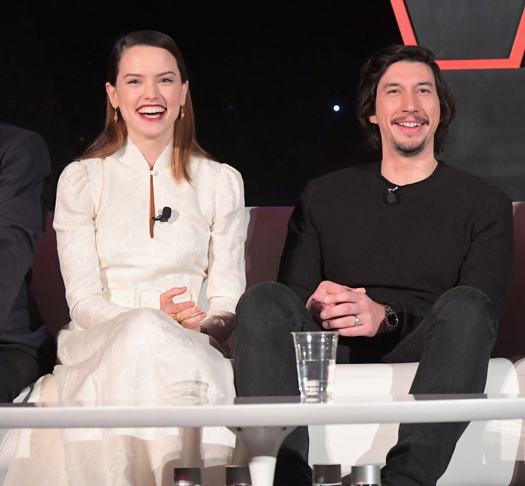 Daisy Ridley and Adam Driver star together as Rey and Kylo Ren in Star Wars: the Last Jedi, and the two share just as much chemistry off screen as they do in a galaxy far, far away. We know you're shipping the hell out of their characters in the film, so keep reading to see their cutest moments while promoting the Star Wars films.      Related:                                                                                                           Star Wars Fans Are Freaking the F*ck Out Over Kylo Ren's Shirtless Scene in The Last Jedi