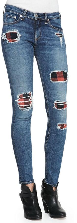 Rag & Bone The Skinny Sloane Plaid Repair Patch Jeans ($396)