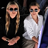 The ladies sat front row in matching shades at the J.Mendel Spring 2012 show in NYC.