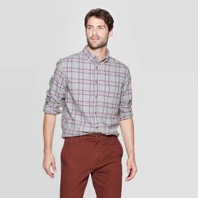 Goodfellow & Co™ Men's Plaid Standard Fit Long Sleeve Flannel Button-Down Shirt