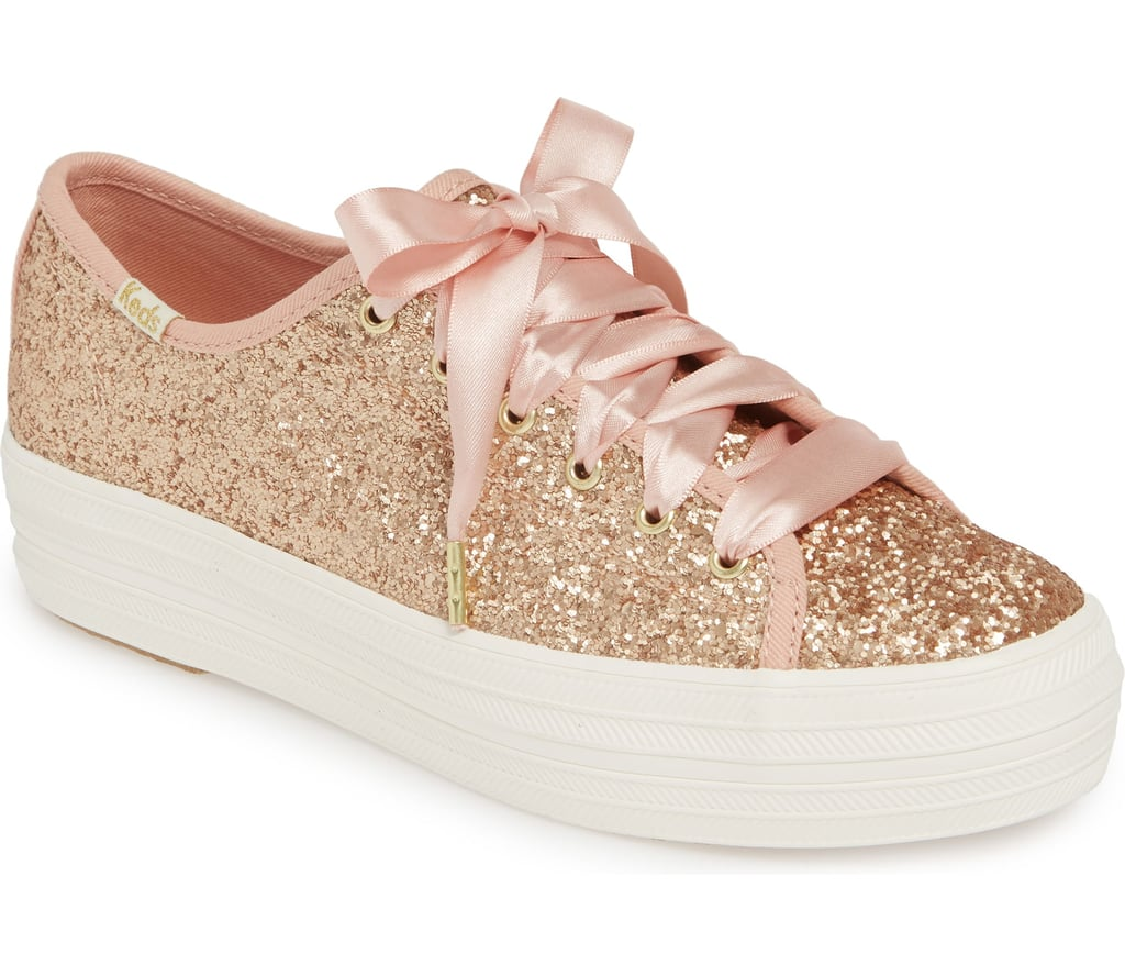 86d41195ee2 Kate Spade Keds Rose Gold Glitter Sneakers 2019