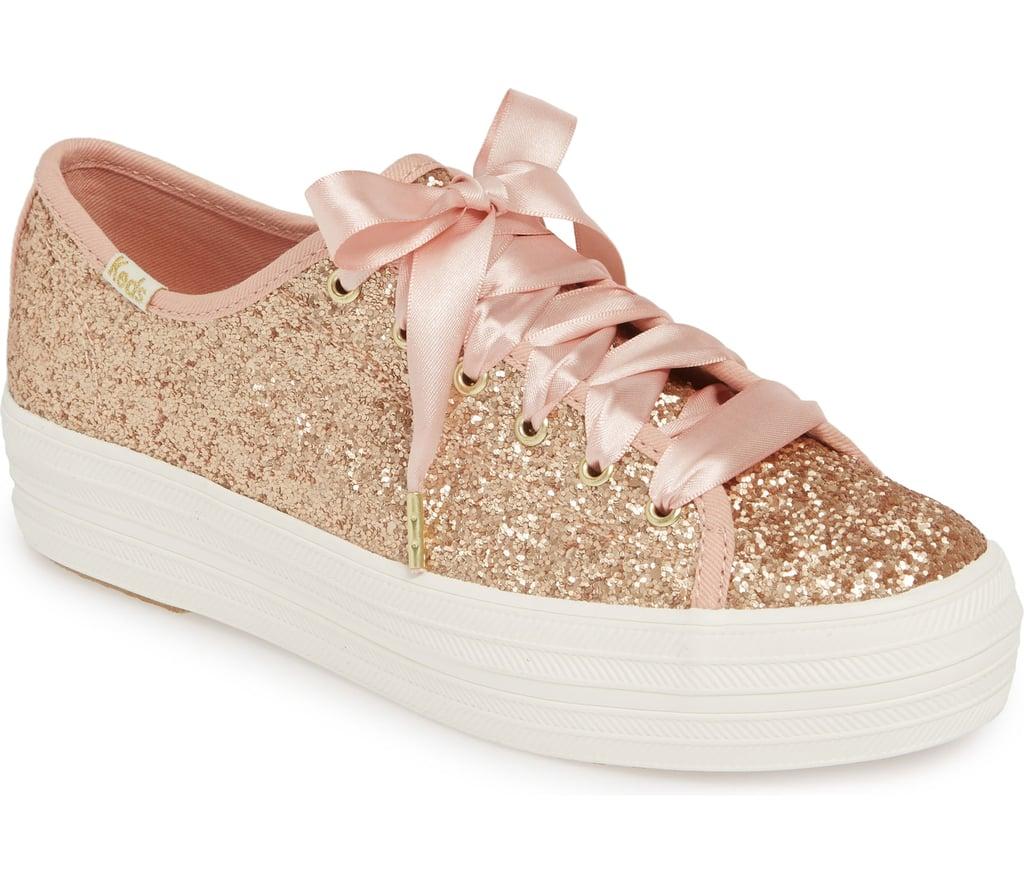 2c5f85312fad Kate Spade Keds Rose Gold Glitter Sneakers 2019