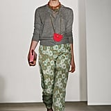 Karen Walker's Spring 2012 collection showed cool printed caps with heather gray sweatshirts.