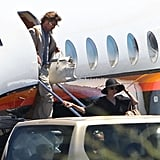 Brad Pitt and Angelina Jolie hopped onboard of a private jet leaving the Galapagos Islands with their family.