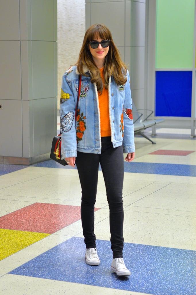 Dakota's Shearling Gucci Denim Jacket