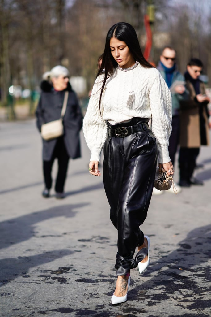 Leather Pants With a Paper Bag Waist | Pant Outfit Ideas