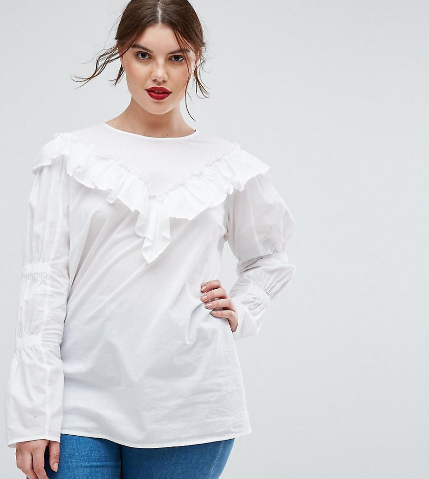 f5b4d5a3386afb Asos Curve Cotton Top With Frill Detail and Ruched Sleeves ...