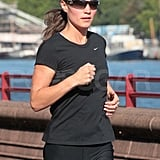 Pippa Middleton jogs by the Thames.