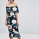 True Violet Bardot Pephem Midi Dress in Bold Floral Print