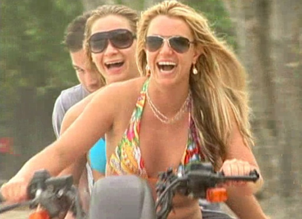 With nothing but a bikini on, Brit took the wheel of an ATV on her vacation in Costa Rica in May 2008.