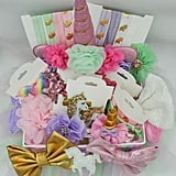 Unicorn Tulle Easter Basket With Headbands, Hairclips, Snap Clips and Bows