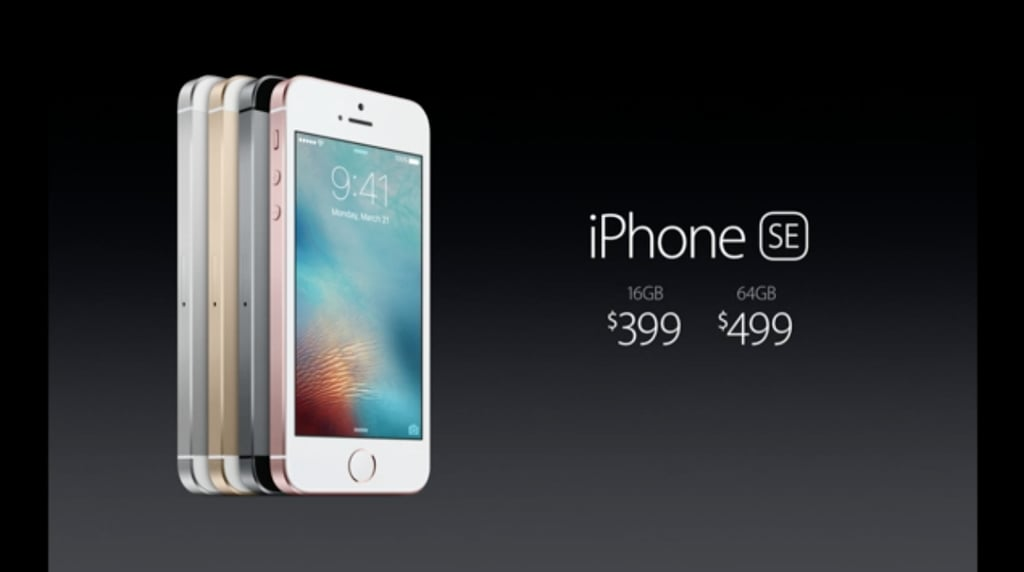 The new iPhone SE starts at a 16GB model for $399.