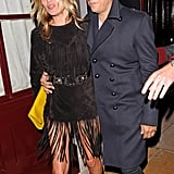 Kate Moss held onto Jamie Hince after a night of partying in London.