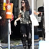 Sandra Bullock talked to a production assistant on her way to the set.