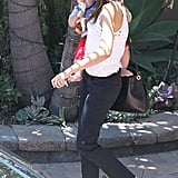 Miranda Kerr looked cool in a pair of ballet flats and jeans.