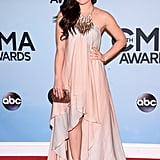 Lucy Hale wore a light pink dress to the CMAs on Wednesday night.