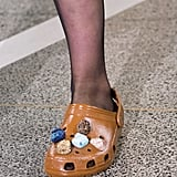 A marbleized Croc to let your foot breathe.