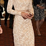 Kate Middleton wore a custom-made nude lace Alexander McQueen dress.