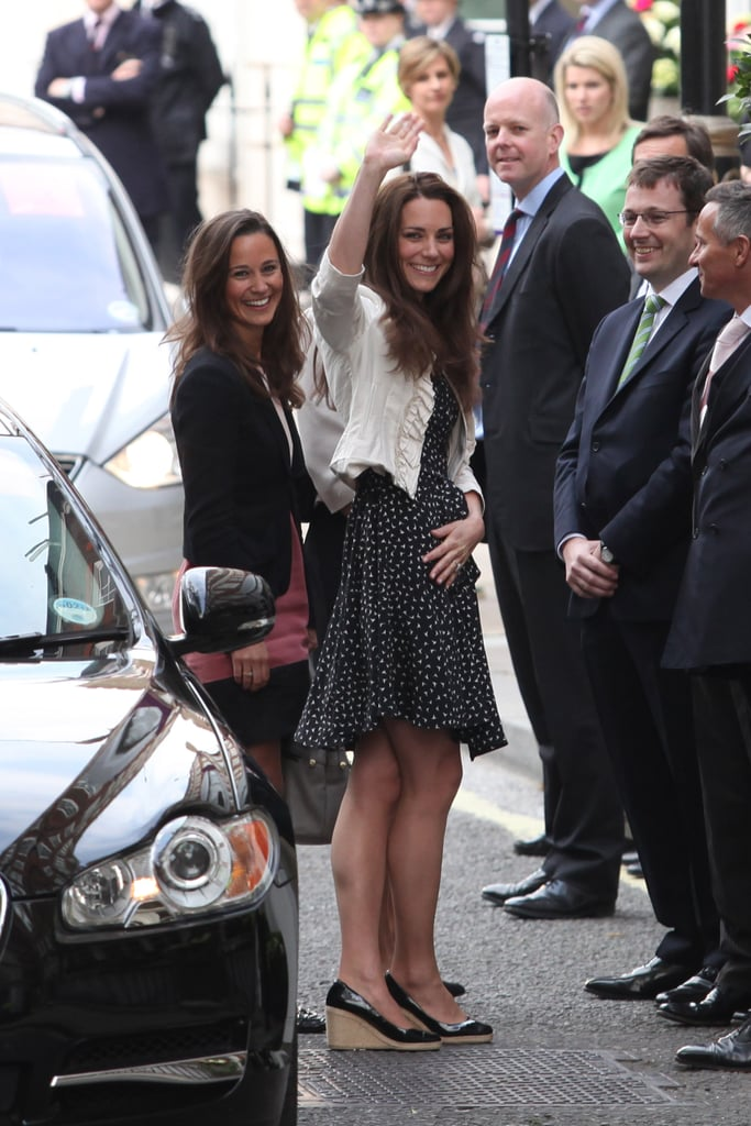Pippa was right by Kate's side as they arrived at London's Goring Hotel ahead of the royal wedding in 2011.