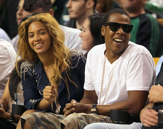Slide Picture of Beyonce and Jay-Z at NBA Playoffs in Boston