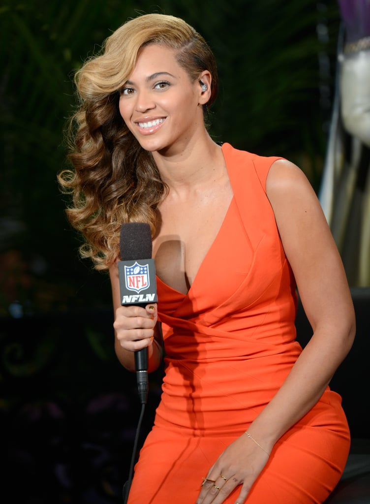 Beyoncé visited Radio Row in New Orleans on Thursday to promote her half-time show.