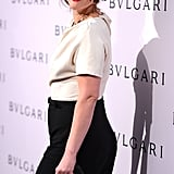 Drew Barrymore looked a million bucks on February 19 as she stopped by an exhibition featuring Elizabeth Taylor's extensive Bulgari collection.