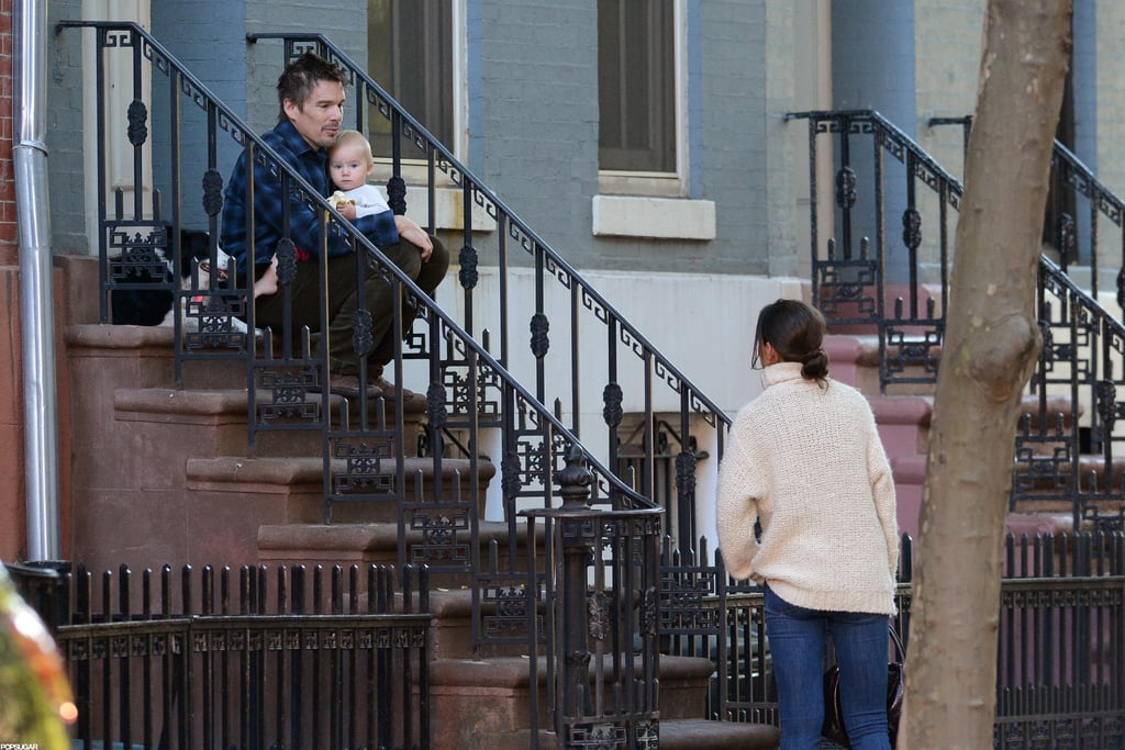 Katie Holmes and Ethan Hawke chatted on the street in NYC