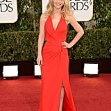 Claire Danes donned a sexy red Versace gown on the Golden Globes red carpet.