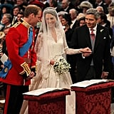 "After Kate made it to the altar with her father, William said to her, ""You look lovely, you are beautiful."" William then jokingly said to Michael, ""We were supposed to have just a small family affair."""