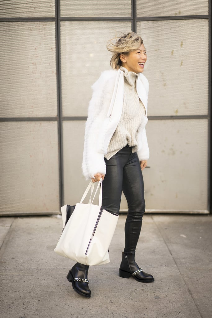 Contrast Edgy Black Bottoms With Cozy White Pieces on Top
