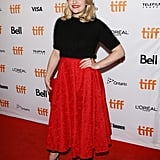 She wore a fit-and-flare red skirt and fuzzy black top with Chloe Gosselin heels to the 2017 Toronto International Film Festival.