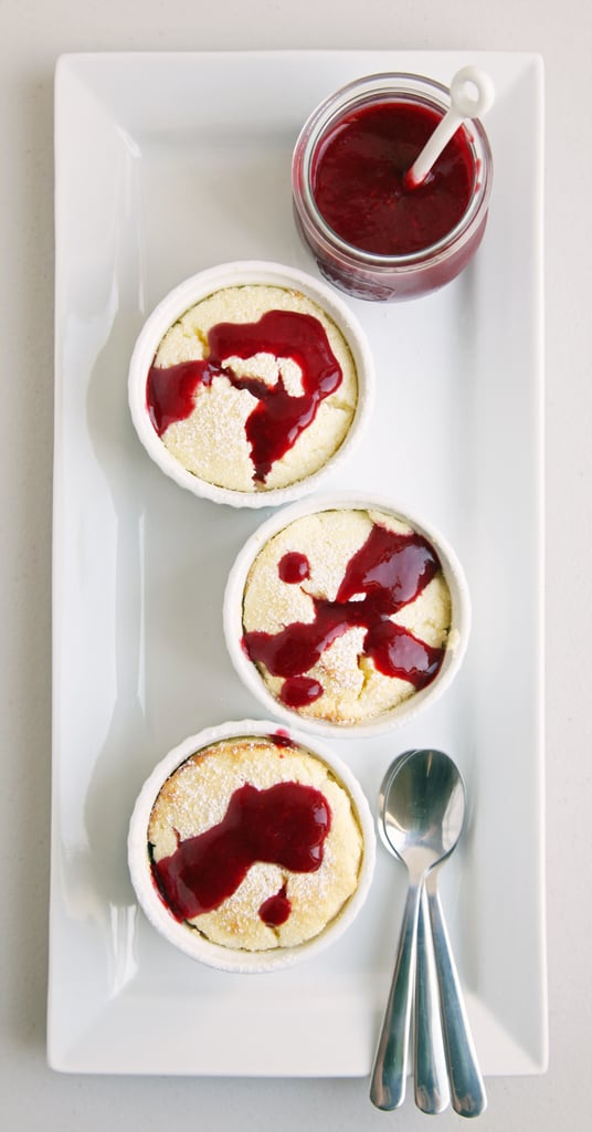 Lemon Soufflé With Raspberry Coulis