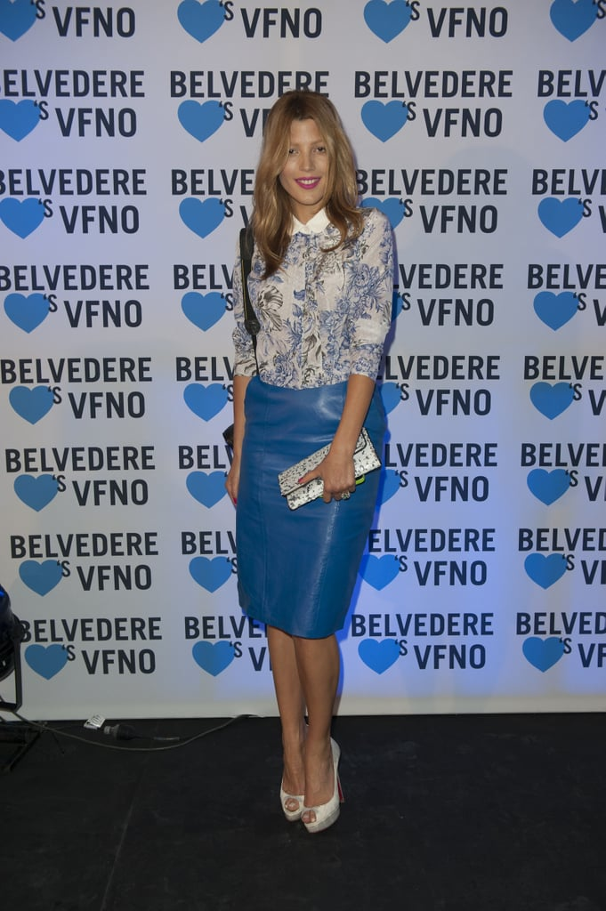 Model Tanya G looked so chic at Vogue Fashion's Night Out in Sydney — we love the cobalt blue leather skirt and buttoned-up shirt!