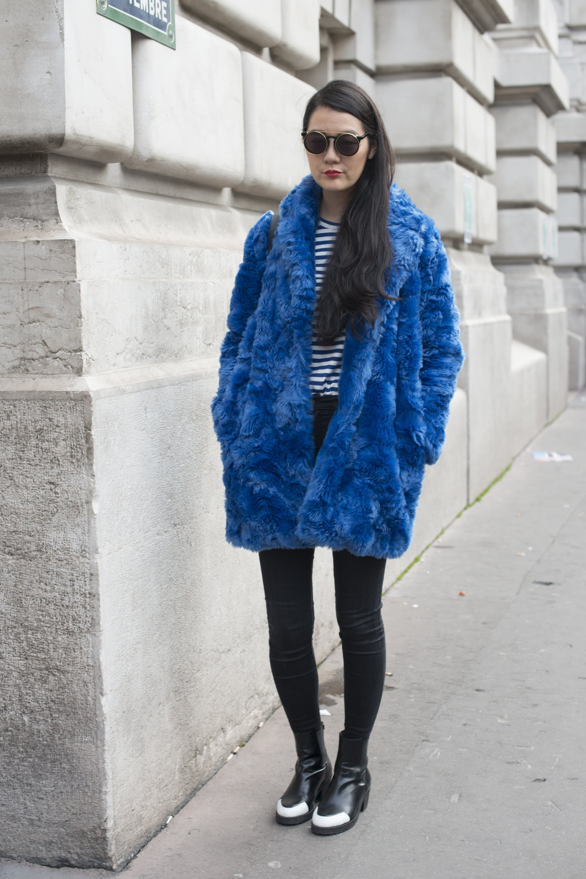 Kook meets classic when Breton stripes and a furry blue coat collide.