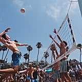 Play beach volleyball with friends.