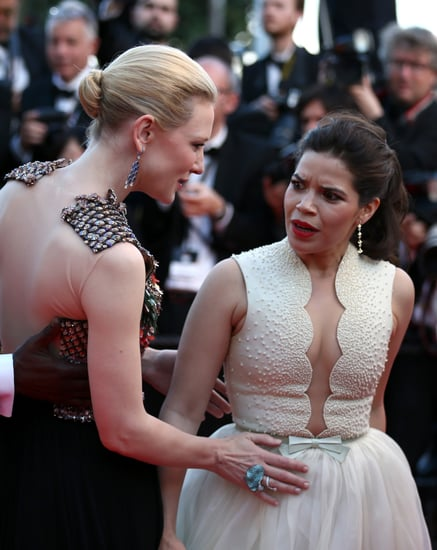 celebrityMan-Crawls-Under-America-Ferrera-Dress-Cannes
